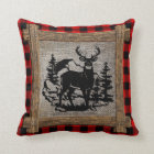 Deer On Red Black Buffalo Check Plaid Pattern Throw Pillow