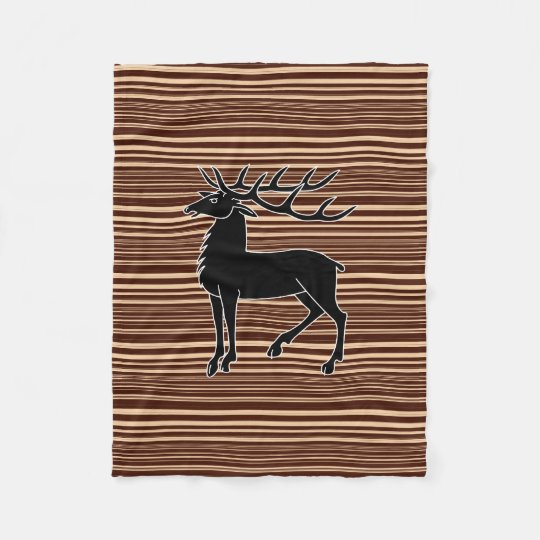 Deer on stripy background fleece blanket
