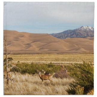 Deer on the Plains Great Colorado Sand Dunes Printed Napkins