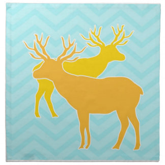 Deer on Zigzag Chevron - Aqua Printed Napkin