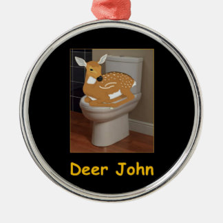 Deer or Dear John Silver-Colored Round Ornament