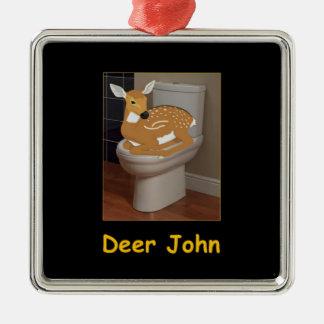 Deer or Dear John Silver-Colored Square Ornament