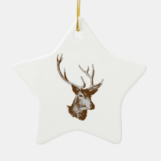 Deer Double-Sided Star Ceramic Christmas Ornament