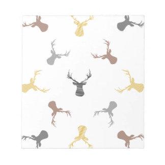 Deer pattern - beige, brown, gray and black. notepad