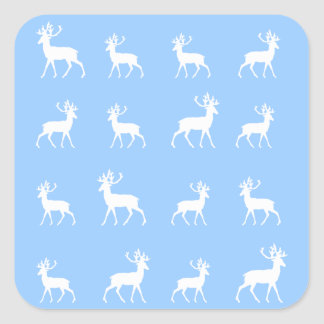 Deer pattern in Blue and White Square Sticker
