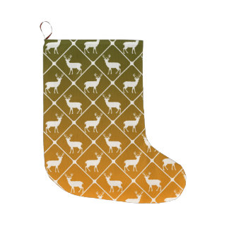 Deer pattern on gradient background large christmas stocking