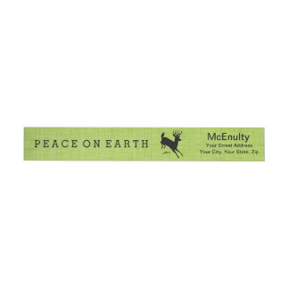 Deer Peace on Earth Green Holiday Wraparound Label Wraparound Return Address Label
