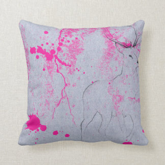 Deer pencil drawing with pink ink stain pattern throw pillow