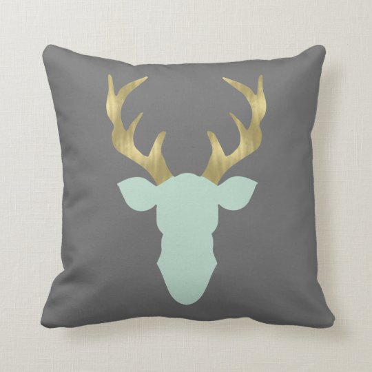 Deer Pillow, Deer Head, Antlers, Editable Colour Throw Pillow