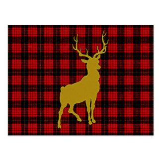 Deer Plaid Postcard