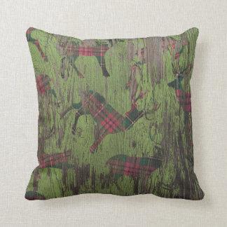 Deer Plaid Rustic Green Holiday Winter Pillow