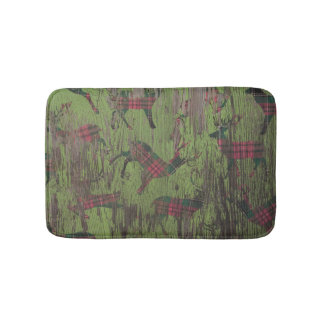 deer plaid Rustic Holiday Bathroom bath mat