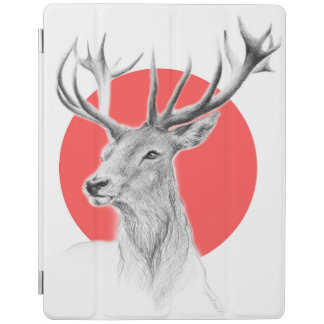 Deer portrait pencil drawing red circle iPad cover