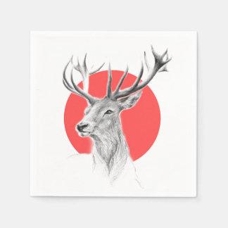 Deer portrait pencil drawing red circle Napkins Paper Napkin