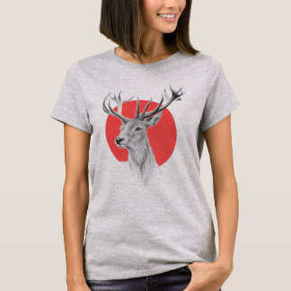 Deer portrait pencil drawing red circle T-shirt