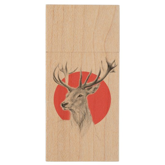 Deer portrait pencil drawing red circle wood USB 2.0 flash drive
