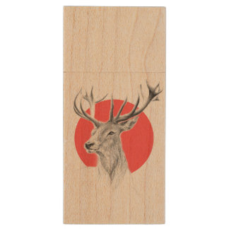 Deer portrait pencil drawing red circle wood USB flash drive
