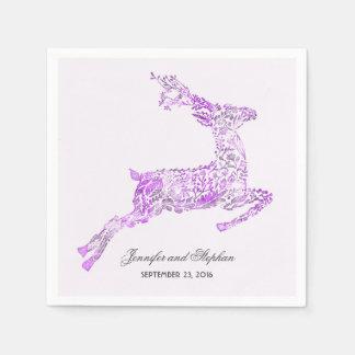 Deer Purple Woodland Wedding Paper Napkin