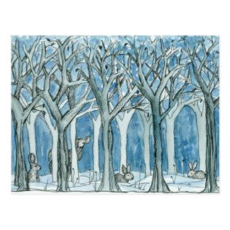 Deer Rabbits Forest Animals Wildlife Winter Postcard
