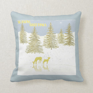 Deer Reflection Throw Pillow