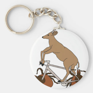 Deer Riding Bike With Deer Tick Wheels Basic Round Button Keychain