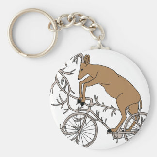 Deer Riding His Antler Bike Basic Round Button Keychain
