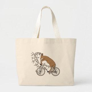 Deer Riding His Antler Bike Large Tote Bag