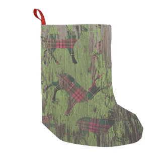 deer Rustic Holiday wood christmas stocking