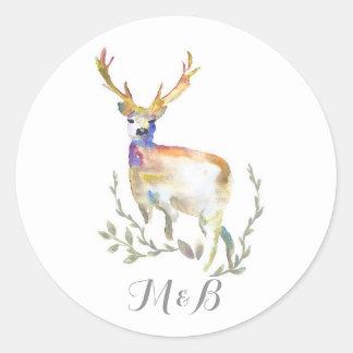 Deer Rustic Woodland Wedding Classic Round Sticker