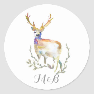 Deer Rustic Woodland Wedding Round Sticker