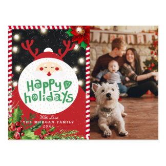 Deer Santa Christmas Happy New Year Greeting Photo Postcard