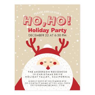 Deer Santa Christmas Ho, Ho, Holiday Party Invite Postcard