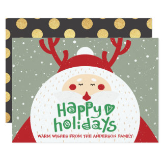 Deer Santa Merry Christmas Happy New Year Greeting Card