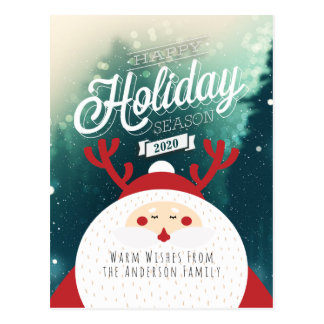 Deer Santa Merry Christmas Happy New Year Greeting Postcard