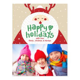 Deer Santa Merry Christmas & Happy New Year Photo Postcard