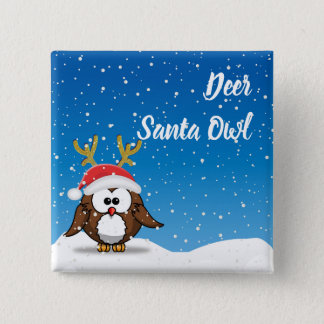 Deer Santa Owl 2 Inch Square Button