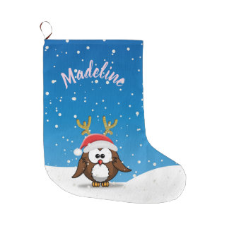 Deer Santa Owl Large Christmas Stocking