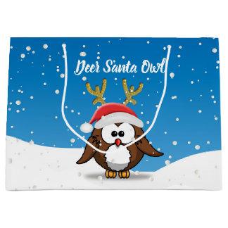 Deer Santa Owl Large Gift Bag