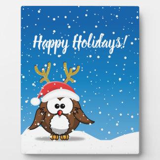 Deer Santa Owl Plaque