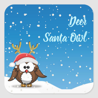 Deer Santa Owl Square Sticker