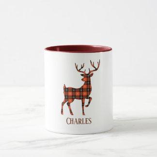 Deer Silhouette Buck Red and Black Plaid Mug