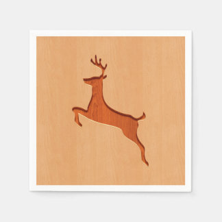 Deer silhouette engraved on wood design disposable napkins