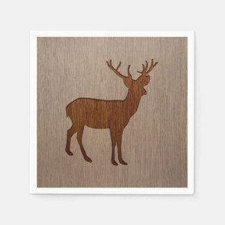 Deer silhouette engraved on wood design paper napkins