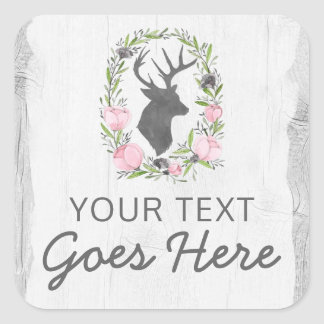 Deer Silhouette Floral Wreath Cameo on Rustic Wood Square Sticker