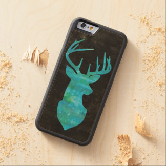 Deer Silhouette in Blue Green Watercolor on Black Carved Maple iPhone 6 Bumper Case