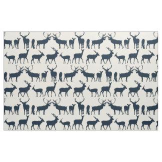 deer silhouette indigo ivory fabric