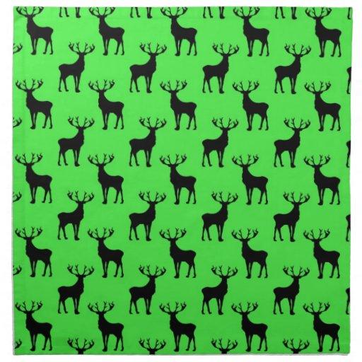 Deer Silhouette on Vivid Green Napkin