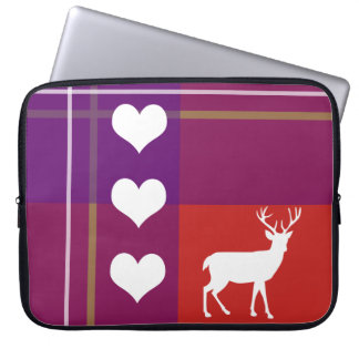 Deer silhouette plaid colorful laptop sleeve