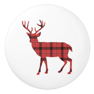 Deer Silhouette Red and Black Plaid Tartan Ceramic Knob
