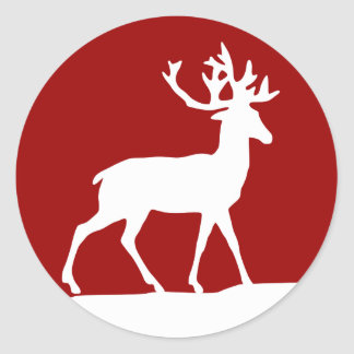 Deer Silhouette - Red and White Classic Round Sticker